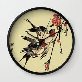 Moon Swallows and Peach Blossoms Wall Clock