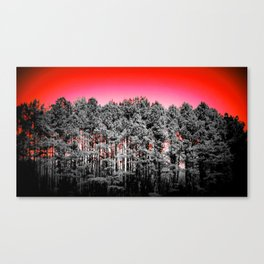 Gray Trees Candy Apple red Sky Canvas Print