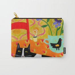 Tuxedo Cat on the Table with Black Bird planter Carry-All Pouch