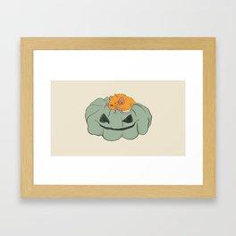 Little bat on a pumpkin Framed Art Print