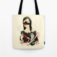 crane Tote Bags featuring The Crane Wife by Picomodi