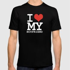 I love my boyfriend Mens Fitted Tee Black LARGE