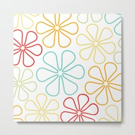 Abstract Flower Outlines Red Yellow Orange Lime Teal White Metal Print