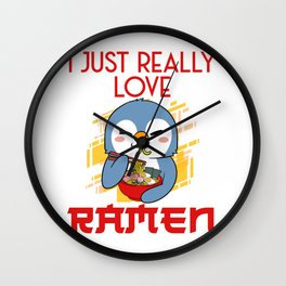 Penguin I Just Really Love Ramen Egg Soup Bowl Crab Noodle Wall Clock