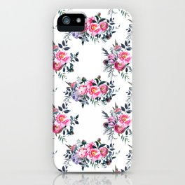Artistic blush pink green yellow watercolor hand painted floral iPhone Case