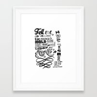 lettering Framed Art Prints featuring Lettering Lyrics by Insait