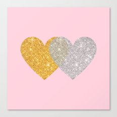 Glitter Hearts Canvas Print
