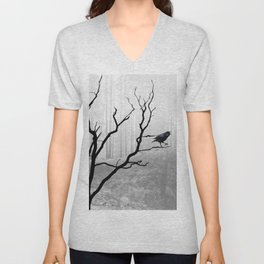 Black Crow in Foggy Forest A118 Unisex V-Neck