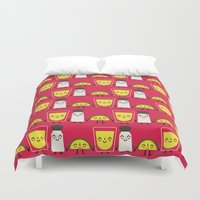 tequila Duvet Covers featuring lemon, tequila and salt by ValoValo