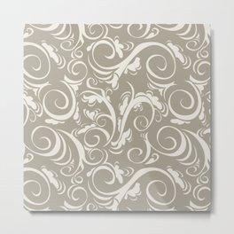 Gray Grey Alabaster Flora Metal Print