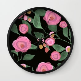 Pink Roses on Black Wall Clock