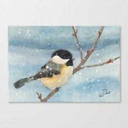 Chickadee Winter Perch Canvas Print