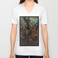 copper V-neck T-shirts featuring Copper Aurora by DeepFlux