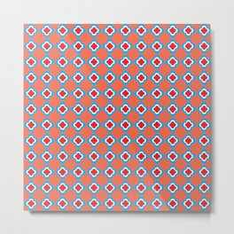Coral, Red, and Turquoise Clovers Metal Print