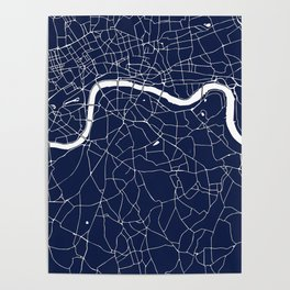 Navy on White London Street Map Poster