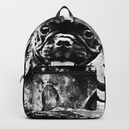 french bulldog basketball splatter watercolor black white Backpack