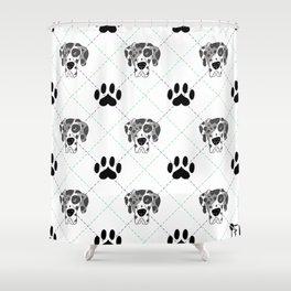 Merle Great Dane Paw Print Pattern Shower Curtain