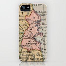 Vintage Map of Dublin Ireland (1883) iPhone Case