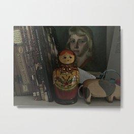 Book shelf nesting doll Metal Print