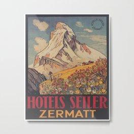 Zermatt, Switzerland, Matterhorn Vintage Travel Poster Metal Print