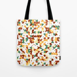 Waiting for Fall - Random Pixel Pattern in Green, Orange and Yellow Tote Bag