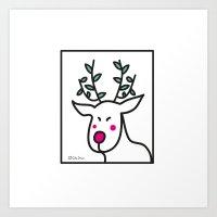 Geisha Reindeer Art Print