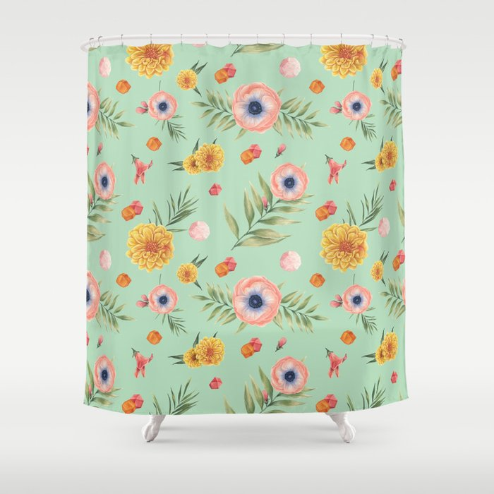 Hand Painted Coral Yellow Watercolor Geometric Floral Shower Curtain By Pink Water