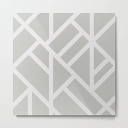 Modern Gray and White Abstract Stripes Metal Print