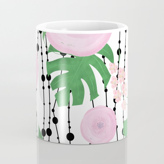 Pink flowers on a white background with black beads. Coffee Mug