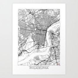 Philadelphia Map White Art Print