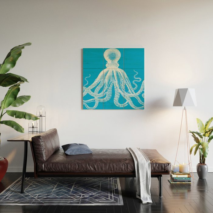 Octopus | Vintage Octopus | Tentacles | Turquoise Blue and White | Wood Wall Art