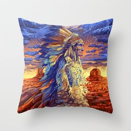 native american colorful portrait Throw Pillow