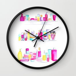 Watercolour Makeup Cabinet Wall Clock