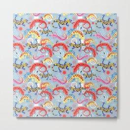 Vector graphic beautiful pattern of colored Salamander Metal Print