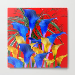 YELLOW & AZURE BLUE CALLA LILIES RED ART Metal Print