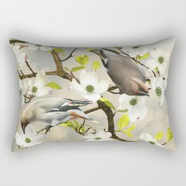 Bohemian Waxwing in Dogwood Tree Rectangular Pillow