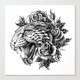 Ornate Leopard Black & White Variant Canvas Print