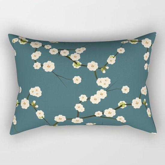 Cherry Blossoms on Blue Background Rectangular Pillow