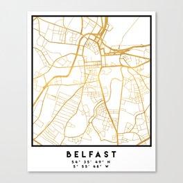 BELFAST UNITED KINGDOM CITY STREET MAP ART Canvas Print