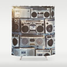 Boom boxes Shower Curtain