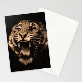 Vintage Tiger in black Stationery Cards