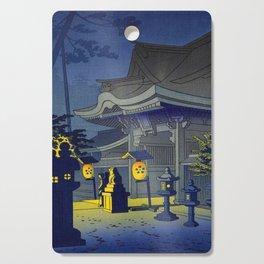 Japanese Woodblock Print Vintage Asian Art Colorful Woodblock Prints Shrine At Night Lantern Cutting Board