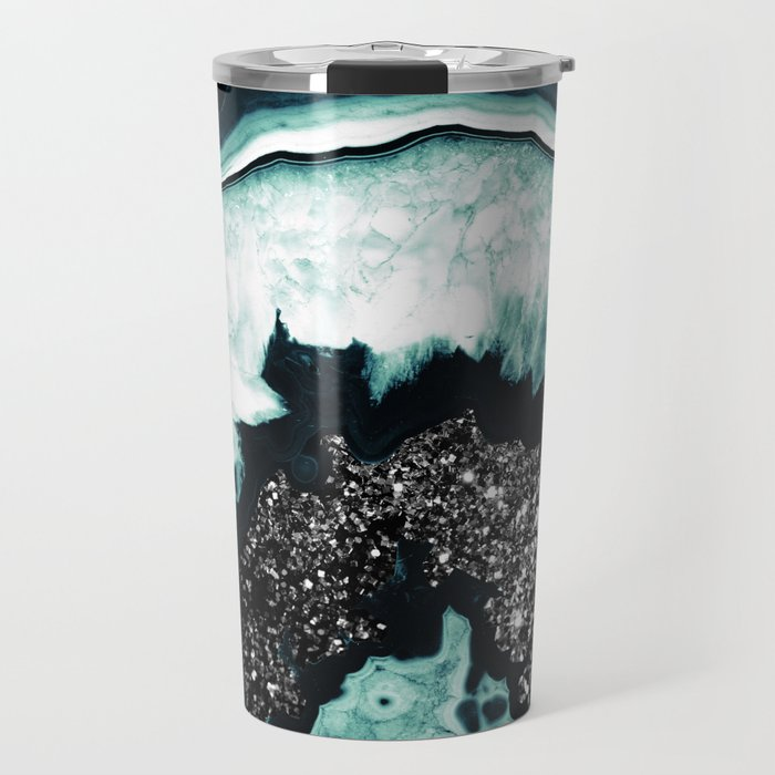 Icy Blue Agate with Black Glitter #1 #gem #decor #art #society6 Travel Mug