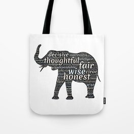Elephant with words Tote Bag