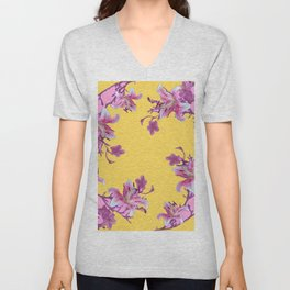 DECORATIVE YELLOW MODERN ART FLORAL Unisex V-Neck