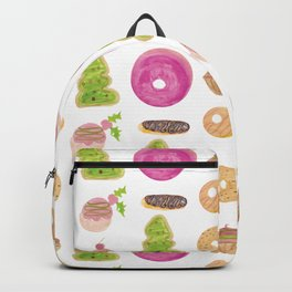 Watercolor Christmas Bakery Treats Donuts Cupcakes Cookies Backpack