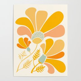 Summer Wildflowers in Golden Yellow Poster