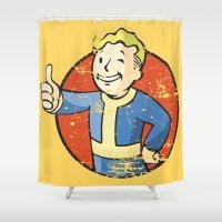 fallout Shower Curtains featuring Fallout Vault boy by Krakenspirit