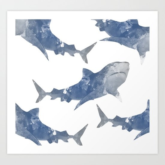 The World is Full of Sharks Art Print