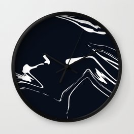 Marble Black and White Liquid Marble Texture Wall Clock